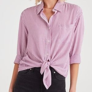Anthropologie Maeve Pink Striped Tie Front Blouse